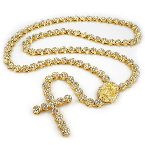 Affordable 14k Gold Iced Out Rosary Flower Hip Hop Chain - White Background