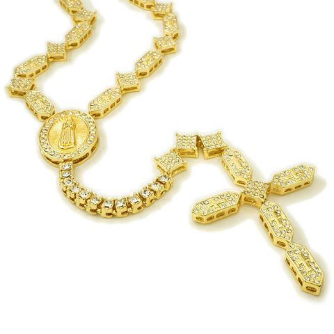 14k Gold Iced Out Rosary Shapes Chain