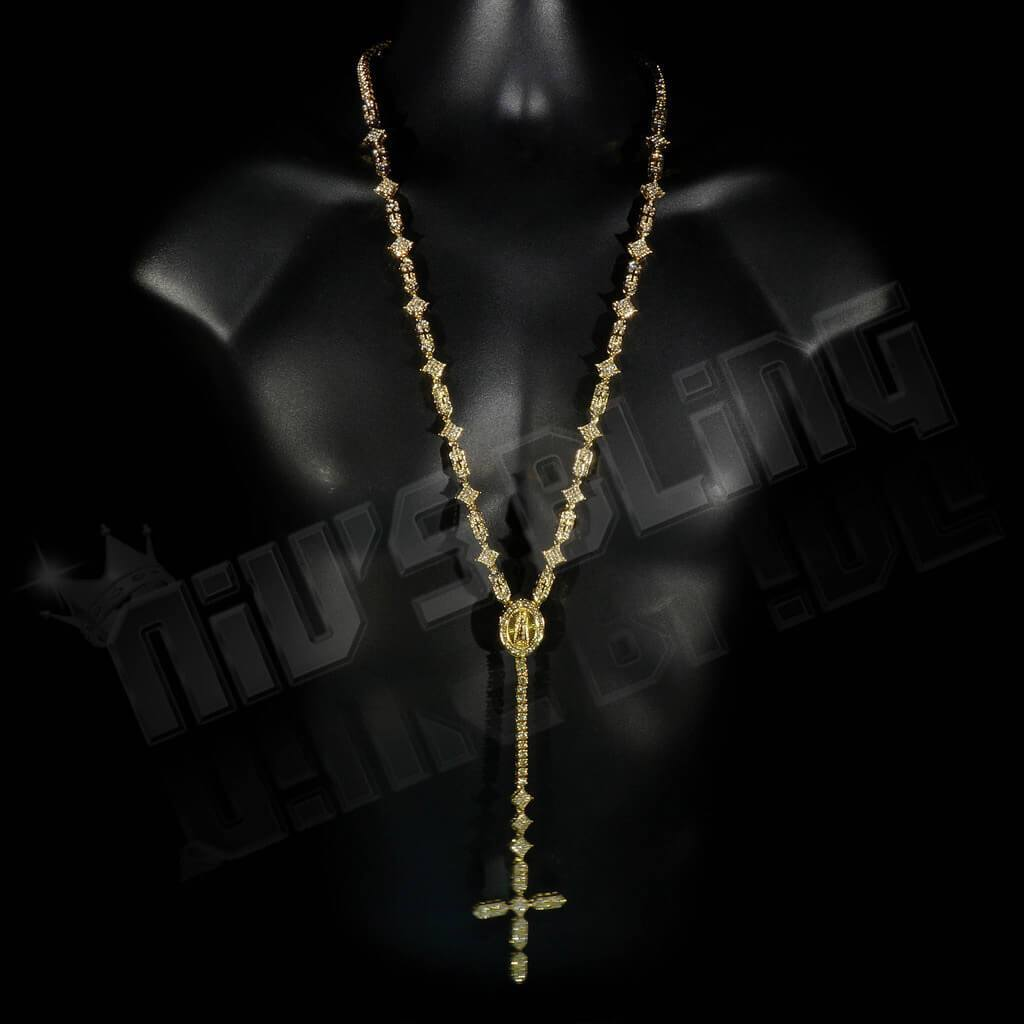 14k Gold Iced Rosary Shapes Chain