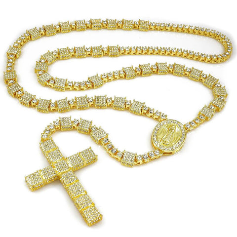 Affordable 14k Gold Iced Out Rosary Square Hip Hop Chain - White Background