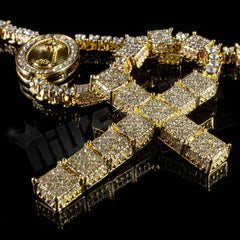 Affordable 14k Gold Iced Out Rosary Square Hip Hop Chain - Close Up