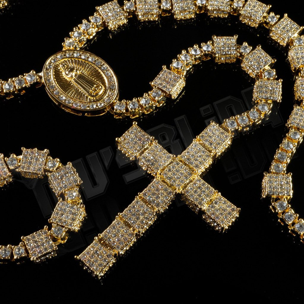 Affordable 14k Gold Iced Out Rosary Square Hip Hop Chain - Whole View