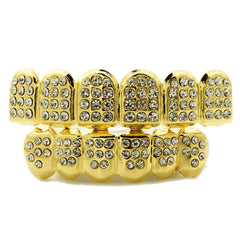 Affordable 14k Iced Out CZ Gold Hip Hop Grillz - White Background