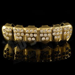 Affordable 14k Iced Out CZ Gold Hip Hop Grillz - Bottom Grill