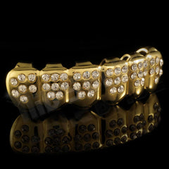 Affordable 14k Iced Out CZ Gold Hip Hop Grillz - Bottom Grill Side View