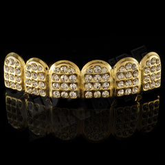 Affordable 14k Iced Out CZ Gold Hip Hop Grillz - Top Grill