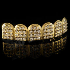 Affordable 14k Iced Out CZ Gold Hip Hop Grillz - Top Grill Side View