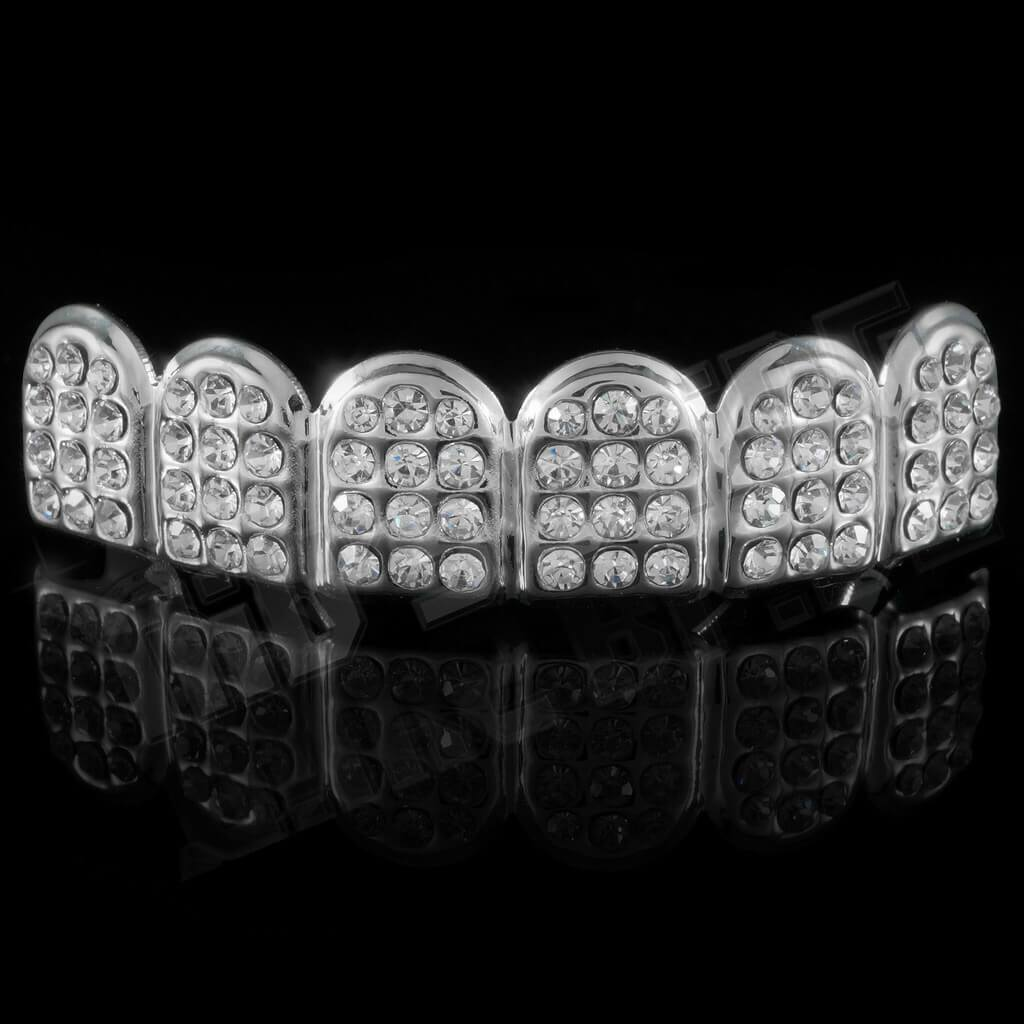 14k Iced Out CZ Silver Grillz
