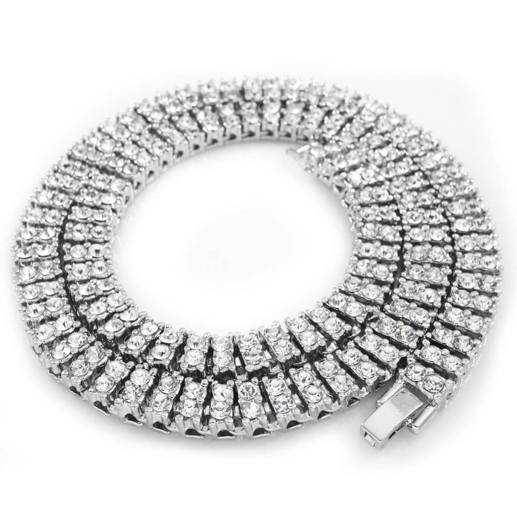 14k White Gold 2 Row Iced Chain