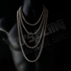 Affordable 14k White Gold 2 Row Iced Out Hip Hop Chain - On Mannequin