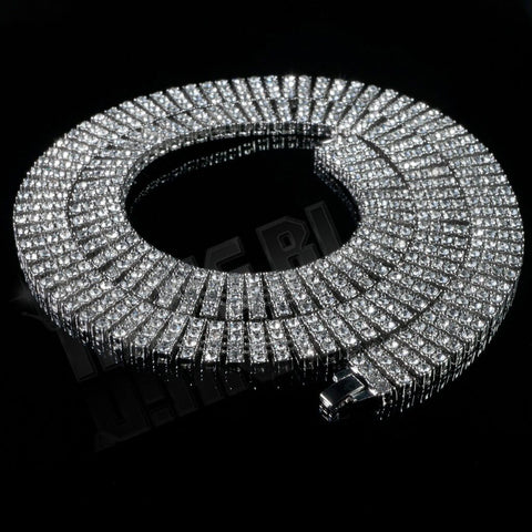 Affordable 14k White Gold 4 Row Iced Out Hip Hop Chain - Black Background