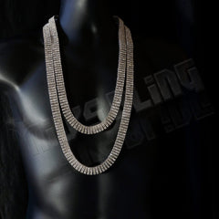 14k White Gold 4 Row Iced Chain