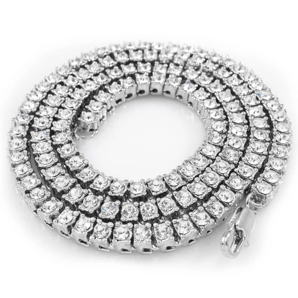 14k White Gold Iced 1 Row Chain