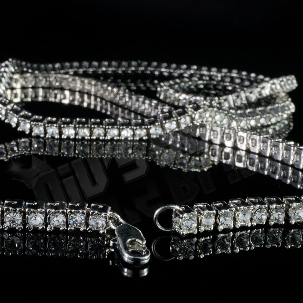 Affordable 14k White Gold Iced Out 1 Row Hip Hop Chain - Side View with Open Lobster Claw Clasp