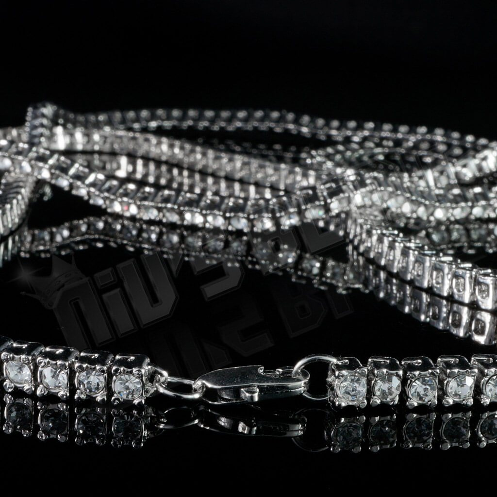 Affordable 14k White Gold Iced Out 1 Row Hip Hop Chain - Side View with Closed Lobster Claw Clasp