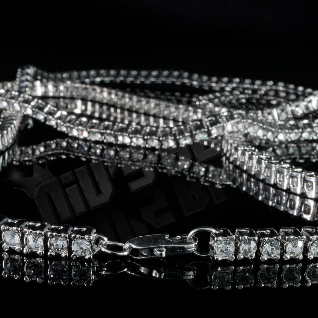 14k White Gold Iced Out 1 Row Chain