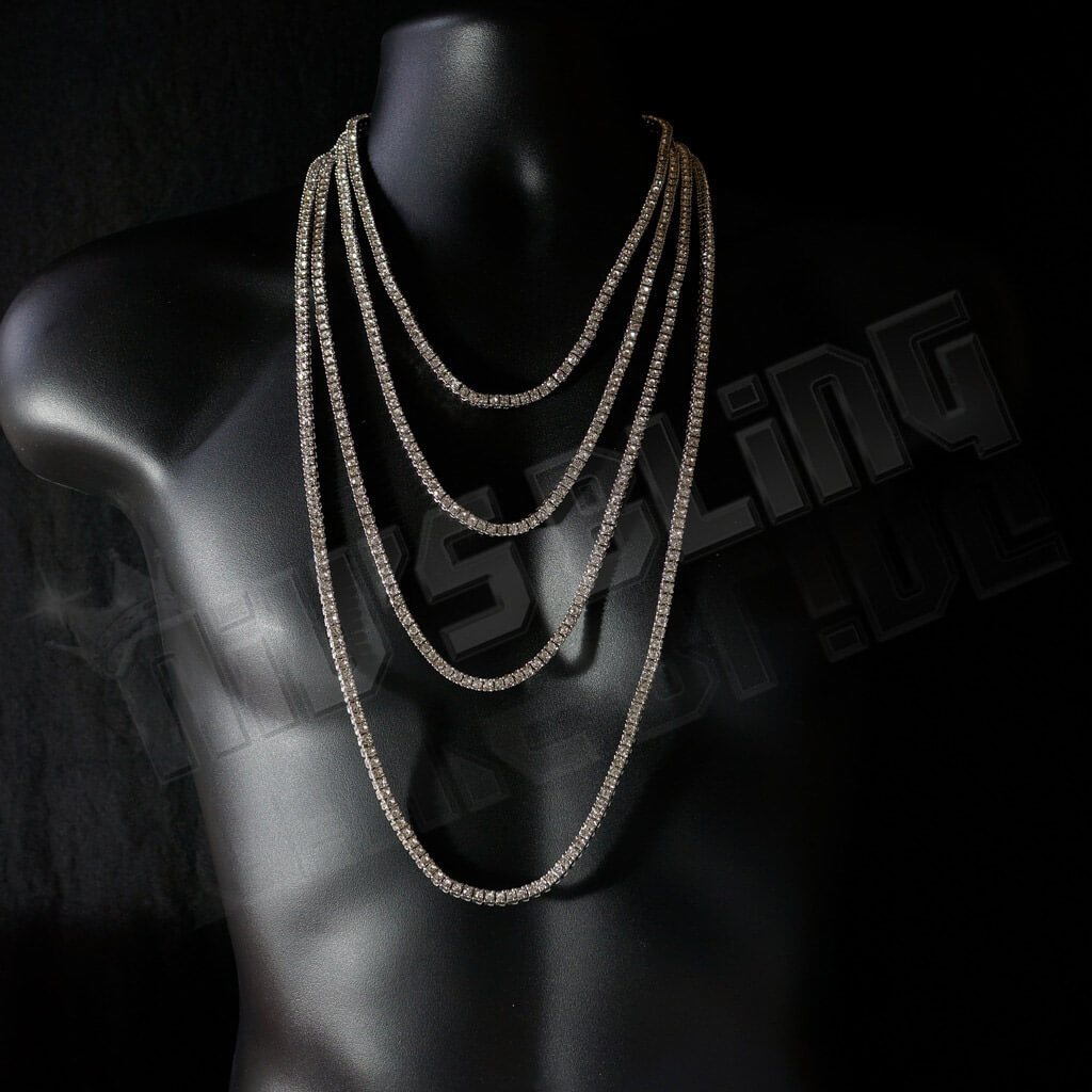 Affordable 14k White Gold Iced Out 1 Row Hip Hop Chain - On Mannequin