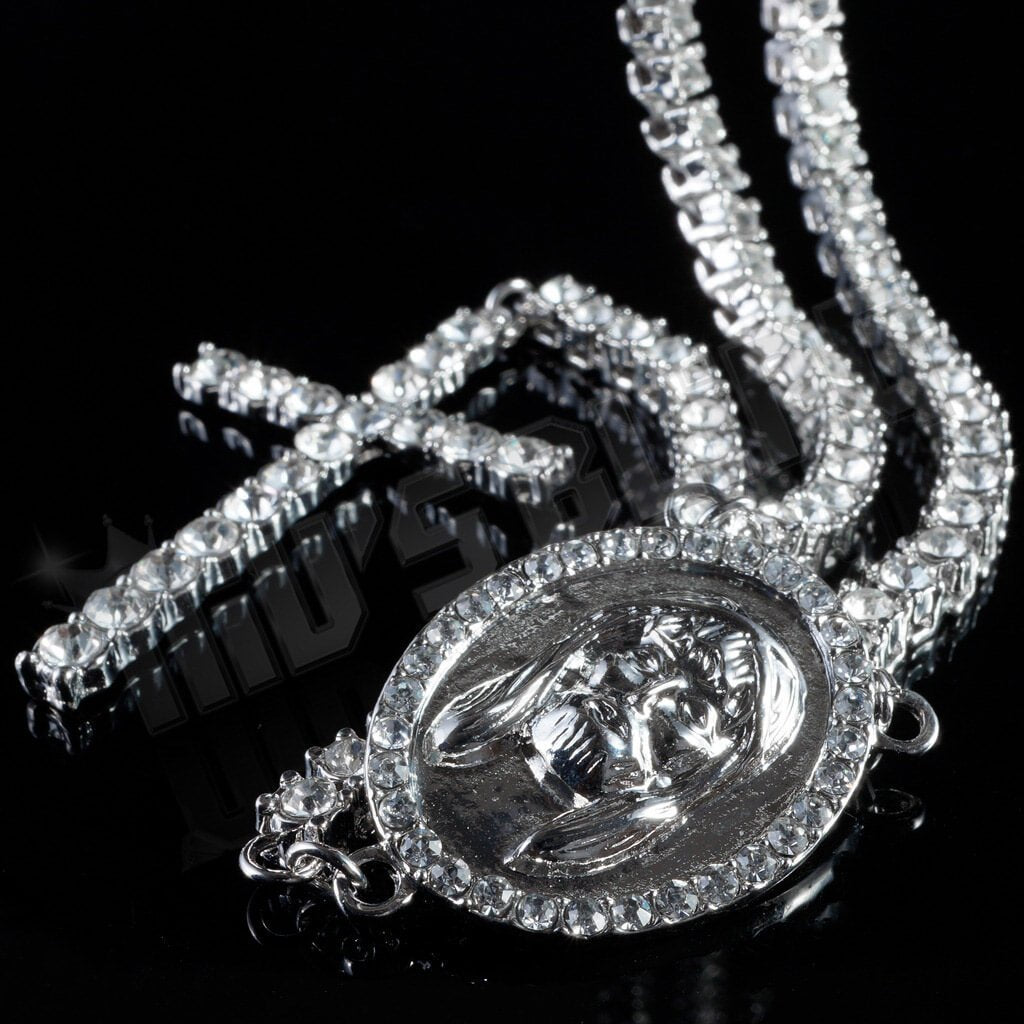 14k White Gold Iced Out 1 Row Rosary Chain