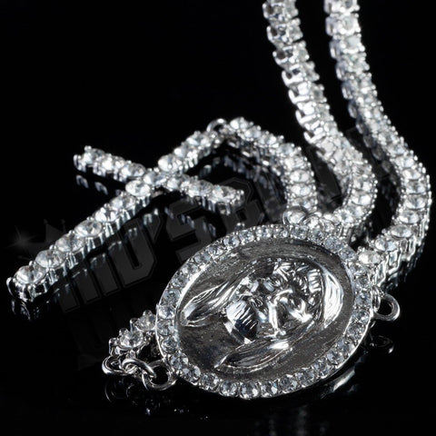 Affordable 14k White Gold Iced Out 1 Row Rosary Hip Hop Chain - Centerpiece and Crucifix Pendant