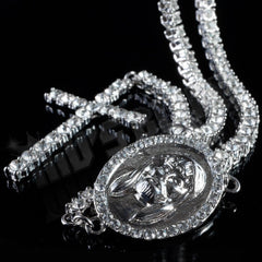 14k White Gold Iced 1 Row Rosary Chain