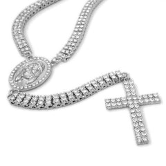 Affordable 14k White Gold Iced Out 2 Row Rosary Hip Hop Chain - White Background