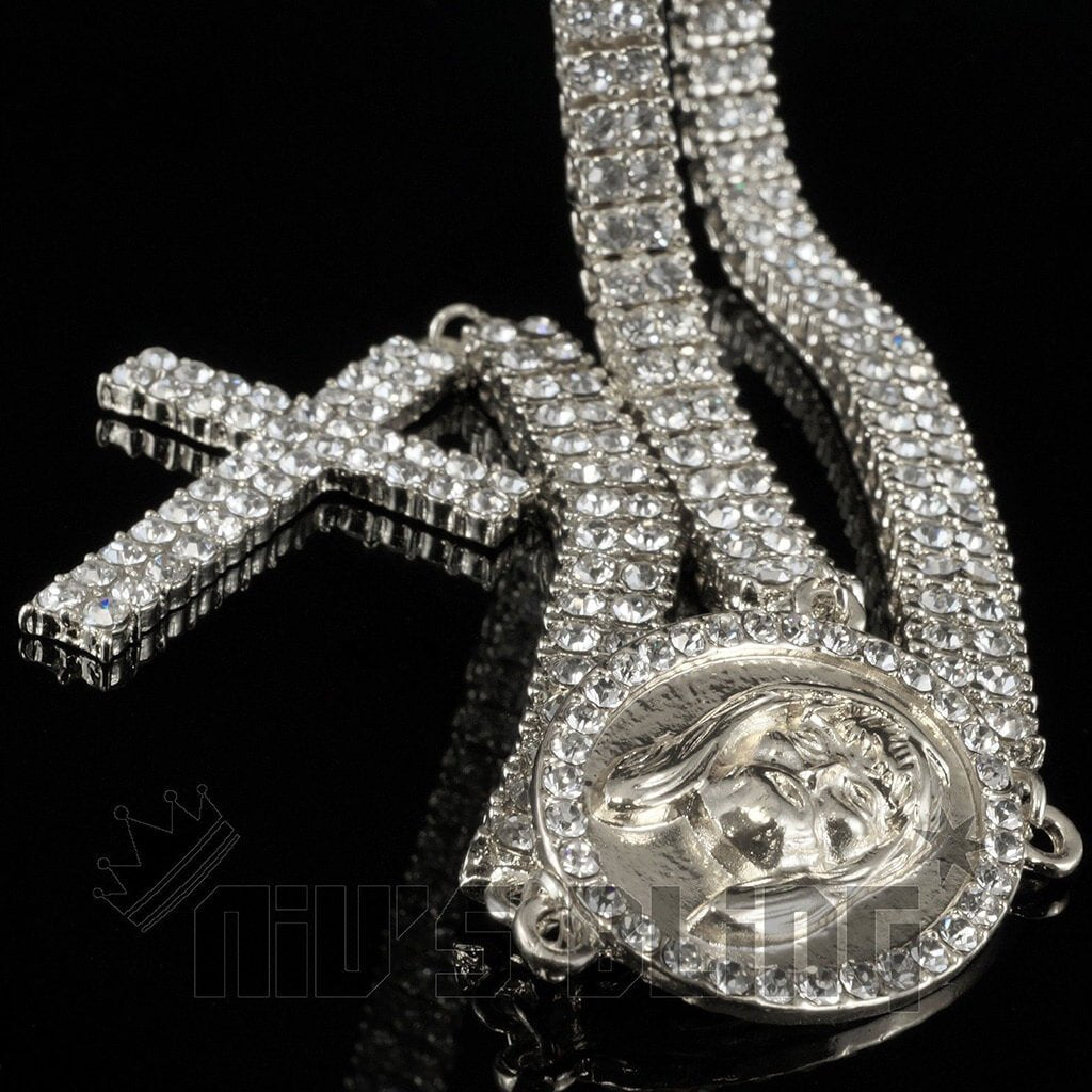 Affordable 14k White Gold Iced Out 2 Row Rosary Hip Hop Chain - Black Background