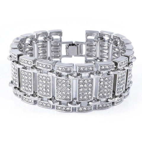 14k White Gold Iced Ladder Bracelet