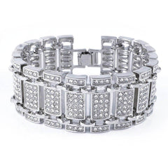 14k White Gold Iced Out Ladder Bracelet