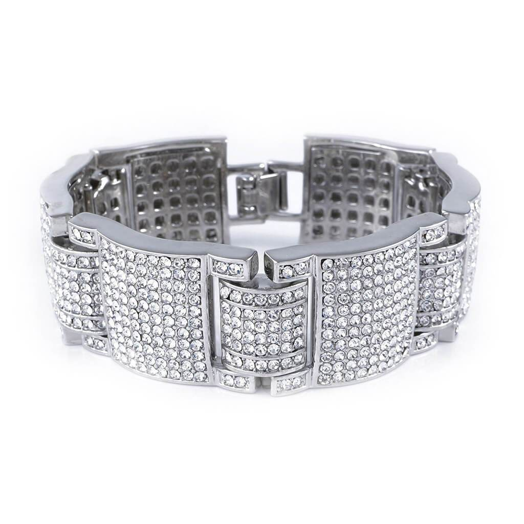 14k White Gold Iced Large Link Bracelet