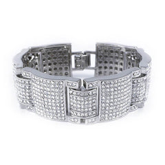 14k White Gold Iced Out Large Link Bracelet