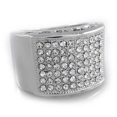 Affordable 14k White Gold Iced Out Micropave Pinky Hip Hop Ring - White Background