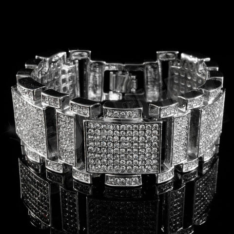14k White Gold Iced Out Mini Goliath Bracelet
