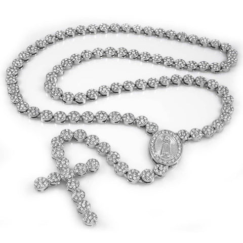 Affordable 14k White Gold Iced Out Rosary Flower Hip Hop Chain - White Background