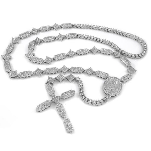 Affordable 14k White Gold Iced Out Rosary Shapes Hip Hop Chain - White Background