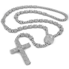 Affordable 14k White Gold Iced Out Rosary Square Hip Hop Chain - White Background