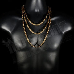 Affordable 18K  Gold Rope Hip Hop Chain - On Mannequin