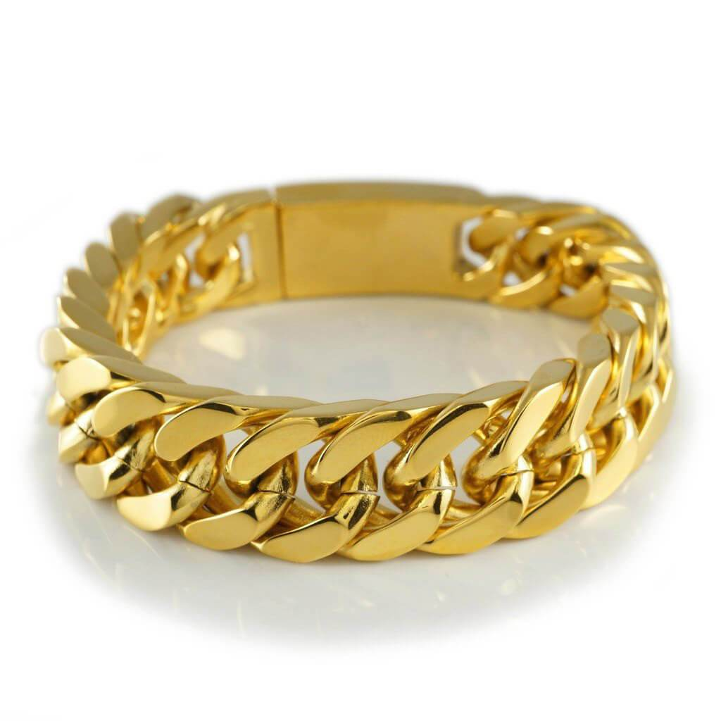 18K 14mm Gold Cuban Link Bracelet Stainless Steel