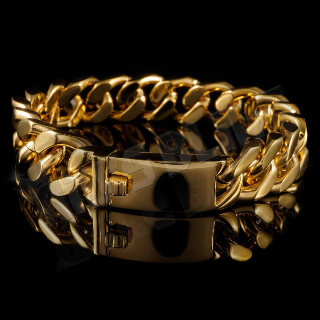 Affordable 18K 14mm Gold Cuban Link Hip Hop Bracelet Stainless Steel - Side View with Closed Box Clasp