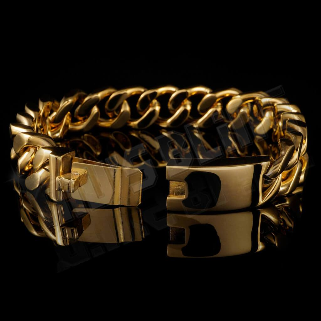 Affordable 18K 14mm Gold Cuban Link Hip Hop Bracelet Stainless Steel - Side View with Open Box Clasp