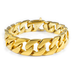 Affordable 18K 15.5mm Gold Cuban Link Hip Hop Bracelet Stainless Steel - White Background