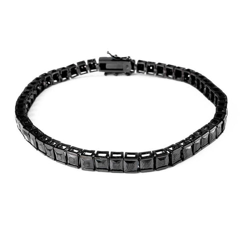 Affordable 18K Black Gold 1 Row Princess Cut Tennis Hip Hop Bracelet - White Background