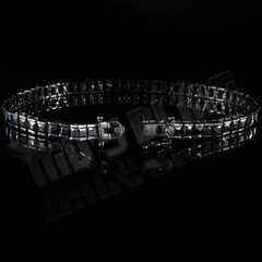 18K Black Gold 1 Row Princess Cut Bracelet