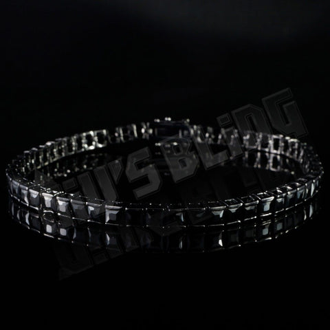 Affordable 18K Black Gold 1 Row Princess Cut Tennis Hip Hop Bracelet - Front view