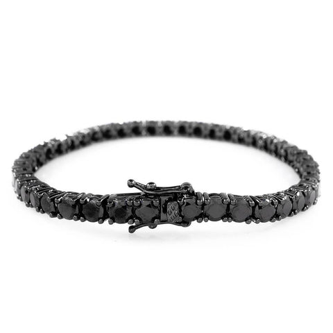 Affordable 18K Black Gold 1 Row Tennis Hip Hop Bracelet - White Background