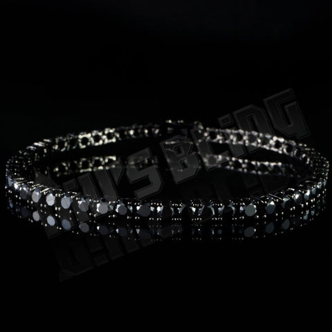 Affordable 18K Black Gold 1 Row Tennis Hip Hop Bracelet - Front View