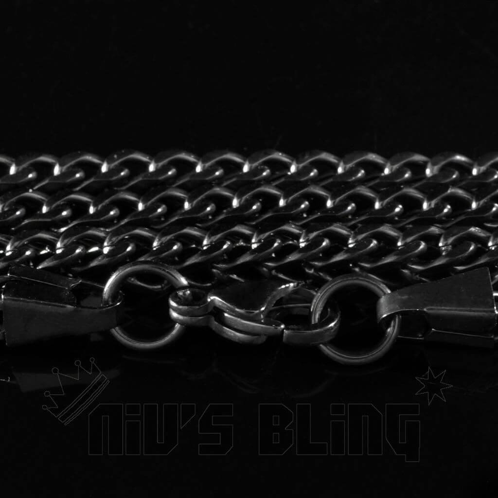 18K Black Gold 4mm Franco Chain