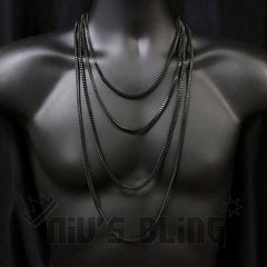 Affordable Hip Hop Necklaces 18K Black Gold 4mm Franco Chain - On Mannequin