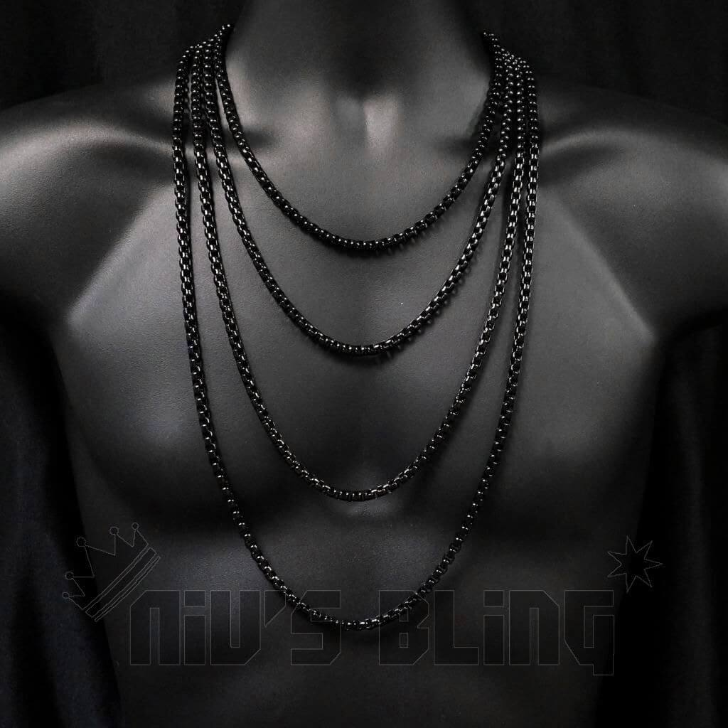 Affordable 18K Black Gold Round Box Hip Hop Chain - On Mannequin