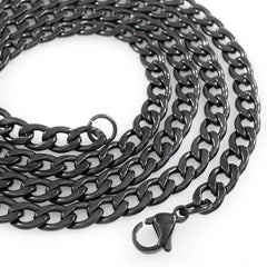 Affordable 18K Black Gold Cuban Link Hip Hop Chain - White Background