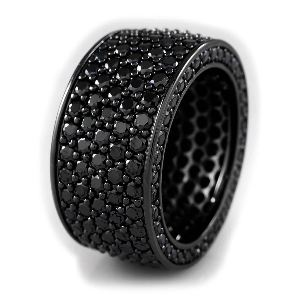 Affordable 18K Black Gold Iced Out Eternity Wedding Ring - White Background